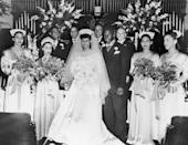 <p>Jackie Robinson wore a tailcoat tuxedo to marry his bride, Rachel Isum, at the Independent Church in Los Angeles in 1946. The bride herself looked stunning in a white satin illusion neck gown and tulle veil. The couple remained married until Robinson's death in 1972. </p>