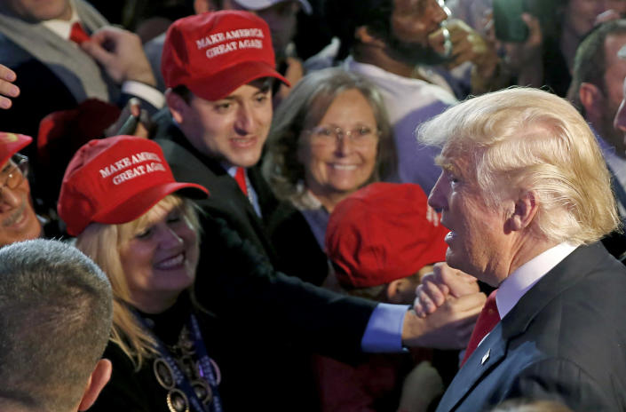 <p>Republican U.S. presidential nominee Donald Trump greets supporters at his election night rally in Manhattan, New York, Nov. 9, 2016. (Photo: Carlo Allegri/Reuters) </p>