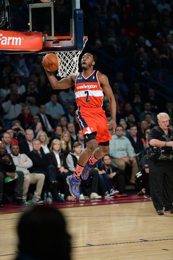 NEW ORLEANS, LA - FEBRUARY 15: John Wall #2 of the Washington Wizards participates in the Sprite Slam Dunk Contest on State Farm All-Star Saturday Night as part of the 2014 All-Star Weekend at Smoothie King Center on February 15, 2014 in New Orleans, Louisiana. (Photo by Noah Graham/NBAE via Getty Images)