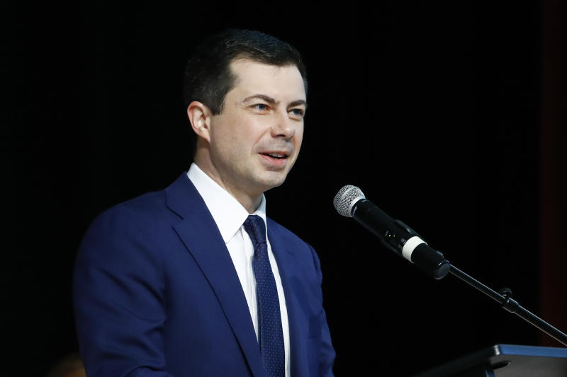 Democratic presidential candidate former South Bend, Ind., Mayor Pete Buttigieg speaks at the National Action Network South Carolina Ministers' Breakfast, Wednesday, Feb. 26, 2020, in North Charleston, S.C. (AP Photo/Matt Rourke)