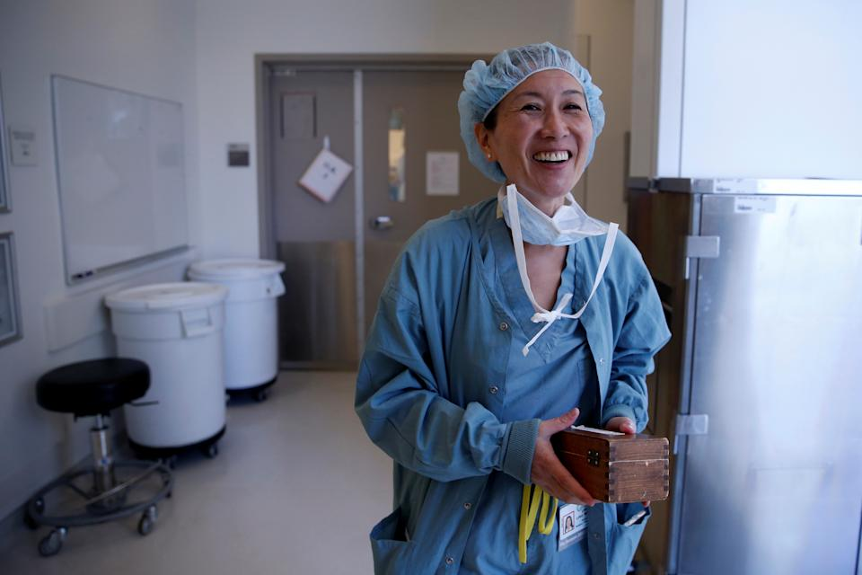 Neurosurgeon Linda Liau, MD, 49, Professor and Director of the UCLA Brain Tumor Program walks out of the operating theatre after successfully removing a tumour from a patient at the Ronald Reagan UCLA Medical Center in Los Angeles, California, United States, May 26, 2016. Liau has been a neurosurgeon for 25 years and has developed a brain cancer vaccine that is in clinical trials. ÒItÕs a very male-dominated profession... When you walk into the room they assume youÕre the nurse or the assistant as opposed to the actual surgeon,