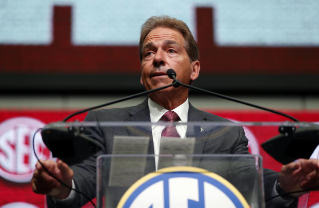 NCAA college football head coach Nick Saban of Alabama speaks during the Southeastern Conference Media Days before speaking Wednesday, July 18, 2018, in Atlanta. (AP Photo/John Bazemore)