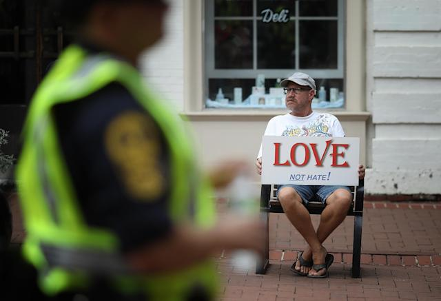 <p>Members of the Virginia State Police patrol the downtown mall area of the city Aug. 11, 2018 in Charlottesville, Va. (Photo: Win McNamee/Getty Images) </p>