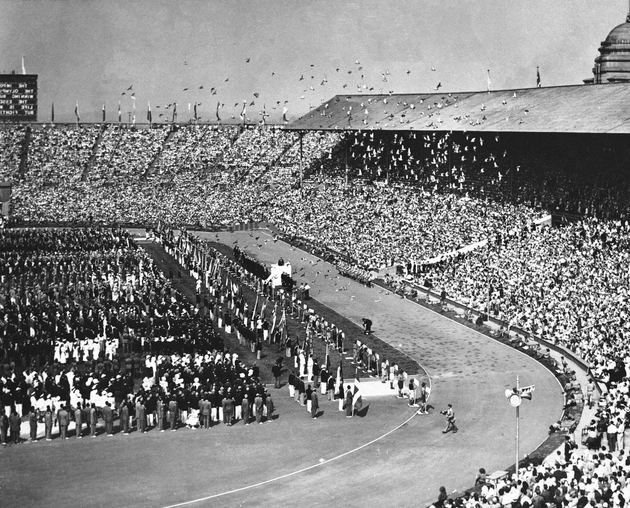 After His Majesty the King declared the 1948 Olympic Games opened, seven thousand pigeons were released, July 29, 1948, at Wembley Stadium in London. In the times of the Ancient Games, the pigeons were used as a signal to warn the Greeks that the Games had begun. (AP Photo/Press Association)
