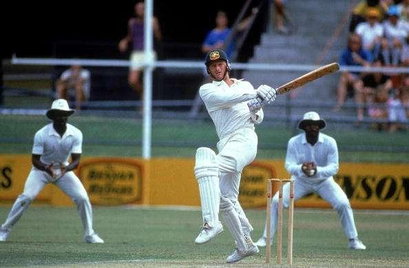 BRISBANE, AUSTRALIA - 1988: Steve Waugh of Australia in action during the 1st test match between Australia and the West Indies held at the GABBA 1988 in Brisbane, Australia. (Photo by Getty Images)