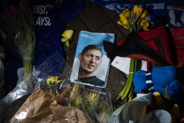 Tributes at Cardiff City Stadium for Emiliano Sala following the striker's death on January 21, 2019 (Aaron Chown/PA)