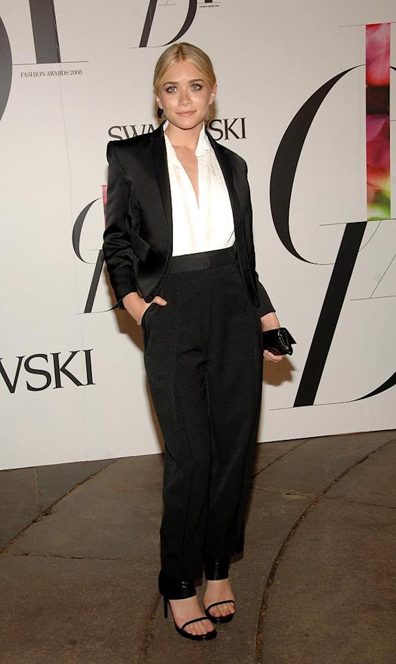 """Twin titan Ashley Olsen continued to disappoint by sporting a matronly pantsuit that would have worked better on a woman three times her age! Jamie McCarthy/<a href=""""http://www.wireimage.com"""" target=""""new"""">WireImage.com</a> - June 2, 2008"""