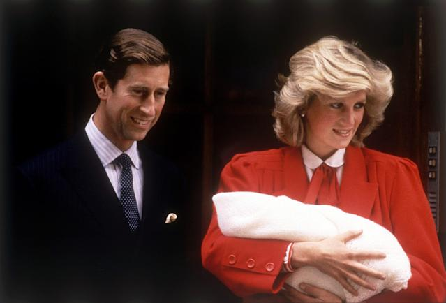 Charles and Diana leaving hospital with Prince Harry (Getty)