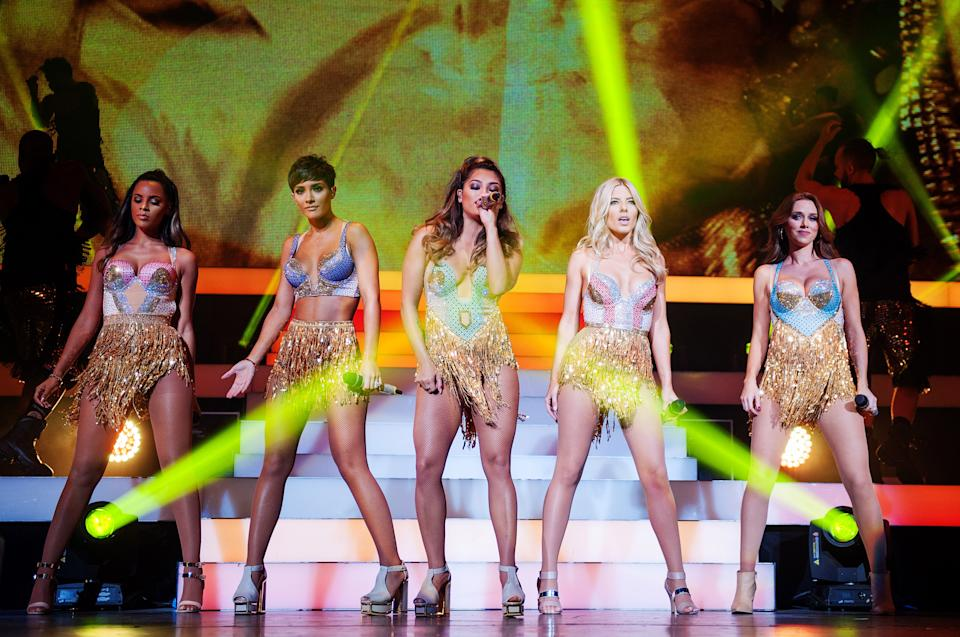 The Saturdays perform on stage at Clyde Auditorium in Glasgow (Photo by Ross Gilmore/Redferns via Getty Images)