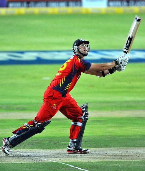 Dwaine Pretorius of the Lions hits a six during the Karbonn Smart CLT20 Final match between bizhub Highveld Lions and Sydney Sixers at Bidvest Wanderers Stadium on October 28, 2012 in Johannesburg, South Africa. (Photo by Duif du Toit/Gallo Images/Getty Images)