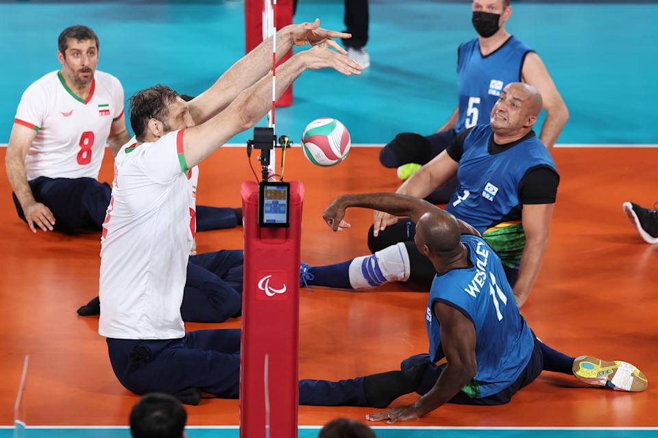 Seen here, Morteza Mehrzad in action against Brazil at the Tokyo Paralympics.