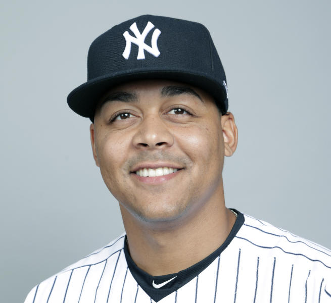 FILE - This is a 2018 file photo showing Justus Sheffield of the New York Yankees baseball team. Left-hander Justus Sheffield was put on the major league roster by the Yankees and could make his major league debut this week. The 22-year-old is nephew of former Yankees outfielder Gary Sheffield. (AP Photo/Lynne Sladky, File)