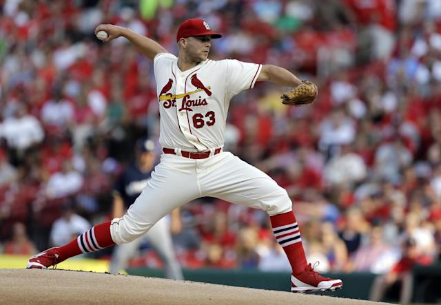 St. Louis Cardinals starting pitcher Justin Masterson throws during the first inning of a baseball game against the Milwaukee Brewers Saturday, Aug. 2, 2014, in St. Louis. (AP Photo/Jeff Roberson)