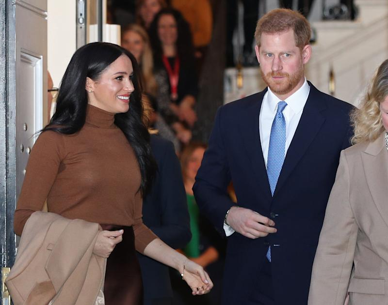 The Duke and Duchess of Sussex leaving after their visit to Canada House, central London, to meet with Canada's High Commissioner to the UK, Janice Charette, as well as staff, to thank them for the warm hospitality and support they received during their recent stay in Canada. Picture date: Tuesday January 7, 2020.