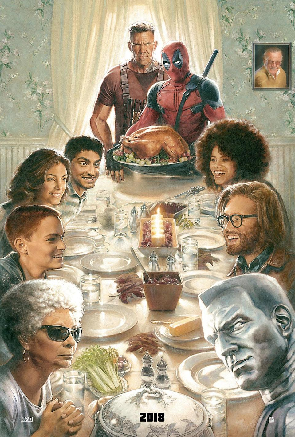 Karan Soni and the cast of <i>Deadpool 2</i> assemble for the film's Thanksgiving poster (20th Century Fox)
