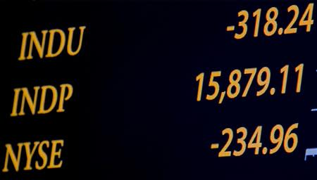 A board shows the Dow Jones Industrial Average after the closing bell over the floor of the New York Stock Exchange January 24, 2014. REUTERS/Brendan McDermid