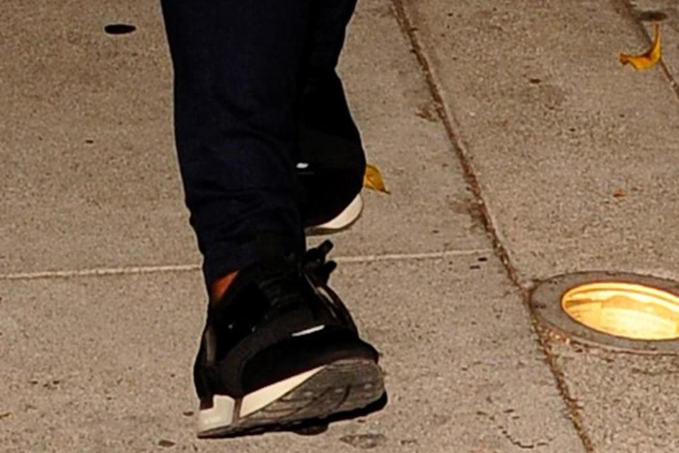 A closer view of Mindy Kaling's sneakers. - Credit: twoeyephotos/MEGA