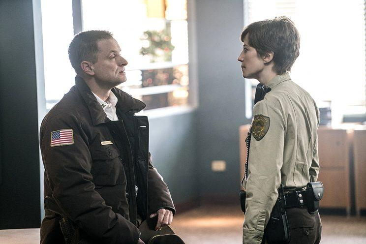 Shea Whigham as Sheriff Moe Dammik, Carrie Coon as Gloria Burgle in FX's Fargo.