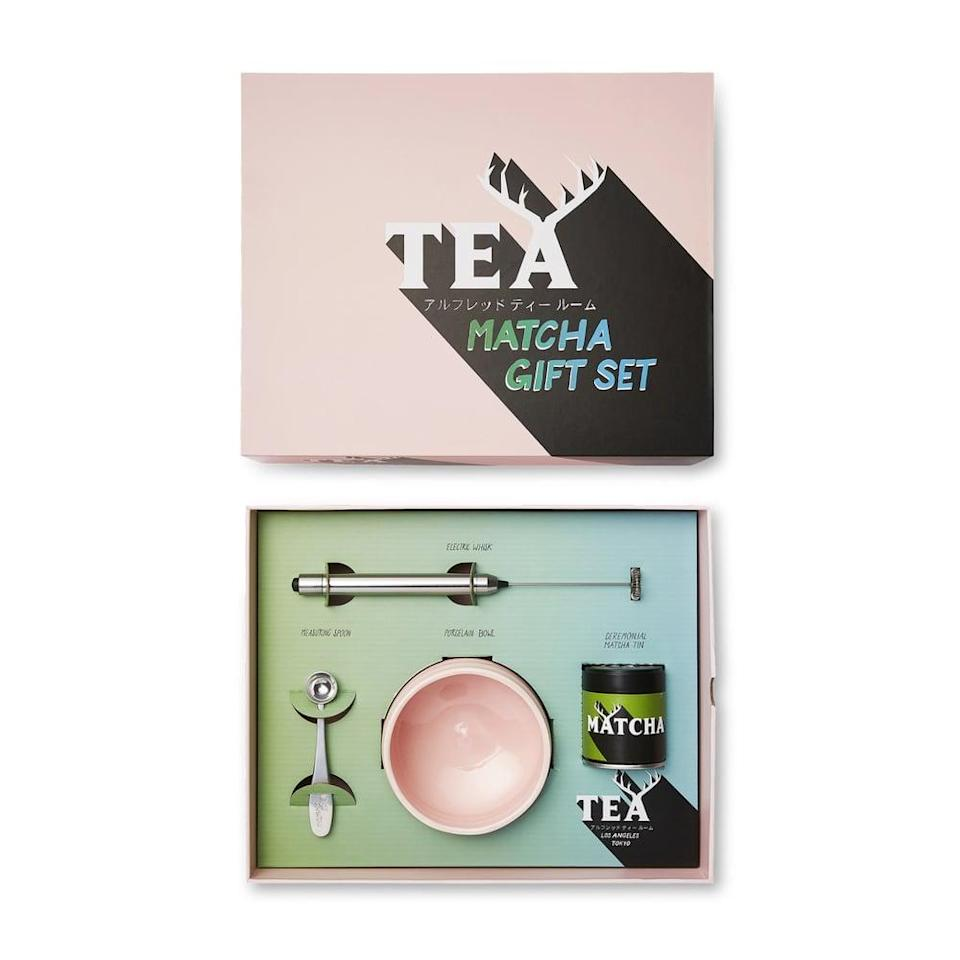 <p>Matcha provides energy without the caffeine jitters, and thanks to this <span>Alfred Tea Room Ceremonial Matcha Gift Set</span> ($75), they can make lattes at home!</p>