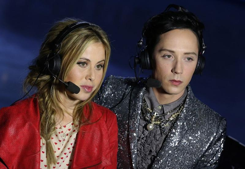 Tara Lipinski and Johnny Weir in Sochi in 2014