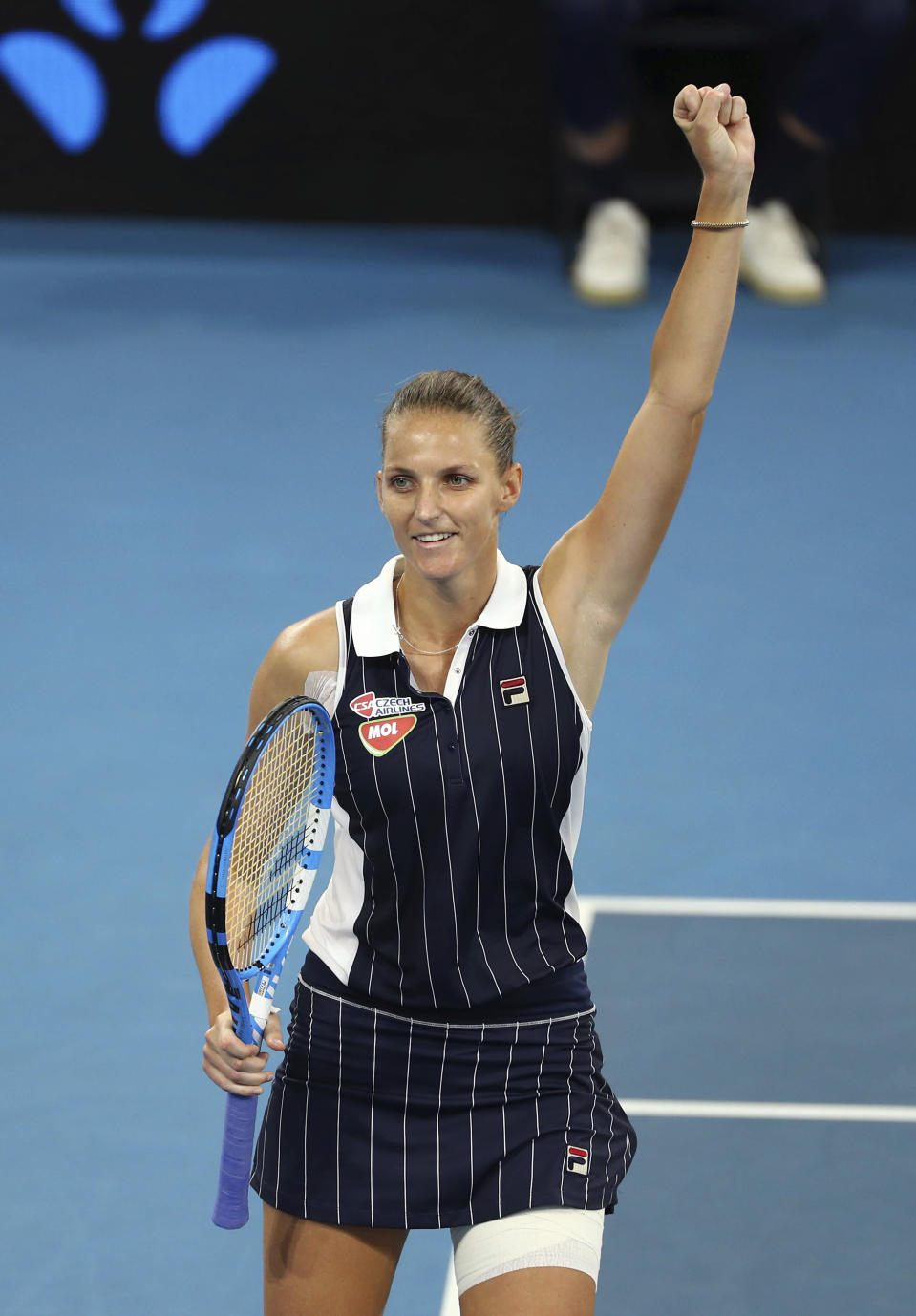 Karolina Pliskova of the Czech Republic reacts after winning her final match against Madison Keys of the United States 6-4, 4-6, 7-5, at the Brisbane International tennis tournament in Brisbane, Australia, Sunday, Jan. 12, 2020. (AP Photo/Tertius Pickard)