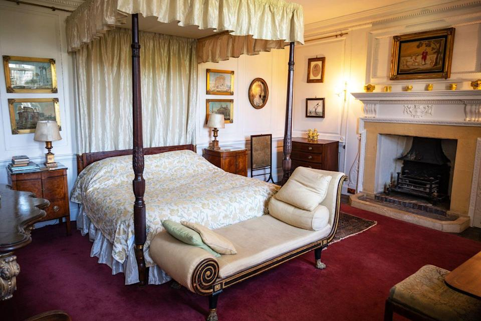 """<p>""""The Chapel Room is another guest bedroom, named because it is closest to All Saints Church which adjoins this side of the house. There are some wonderful 18th-century watercolours of classical sites in Rome, as well as a working fireplace - when the chimney isn't occupied by jackdaws!""""</p>"""