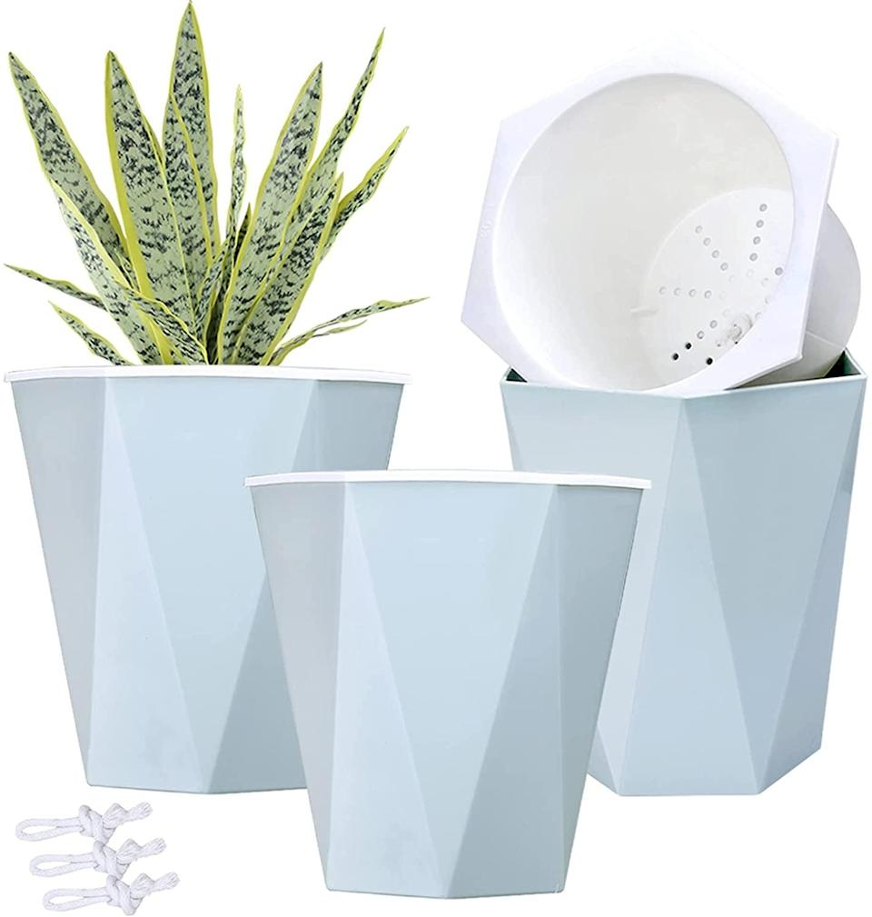 <p>The <span>Self Watering Modern Blue Planters</span> ($22 for three) is a must-have if you often forget to consistently water your plant babies. The pale blue is such a gorgeous color that will look great on a desk, side table, or even a window sil. </p>