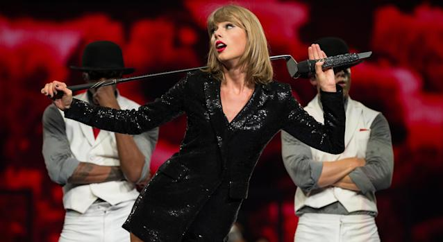 Taylor Swift performs onstage during The 1989 World Tour at Staples Center in 2015. (Photo by Christopher Polk/Getty Images for TAS)