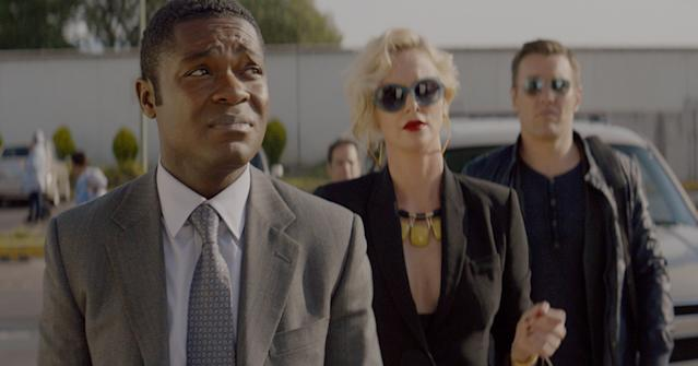 David Oyelowo, Charlize Theron, and Joel Edgerton in <em>Gringo</em>. (Photo: STX)