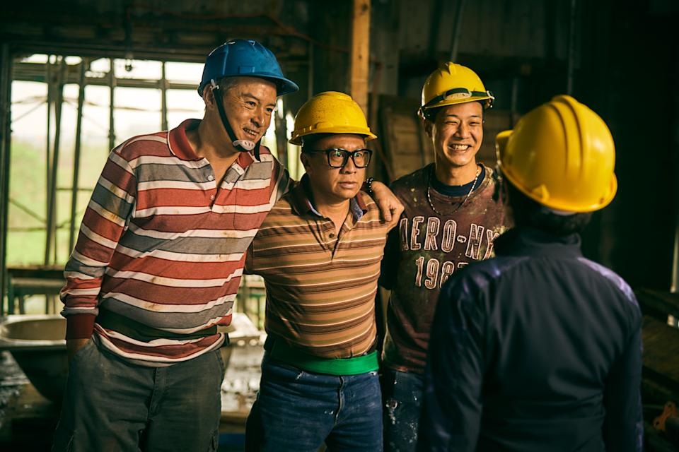Christopher Lee, Yu An-shun and Hsueh Shih-ling in Workers. (Photo: HBO Go)