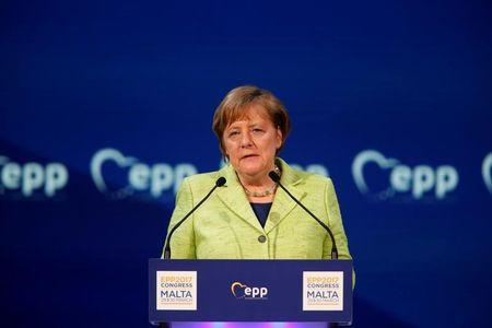 German Chancellor Angela Merkel takes part in a European People Party (EPP) summit in St Julian's