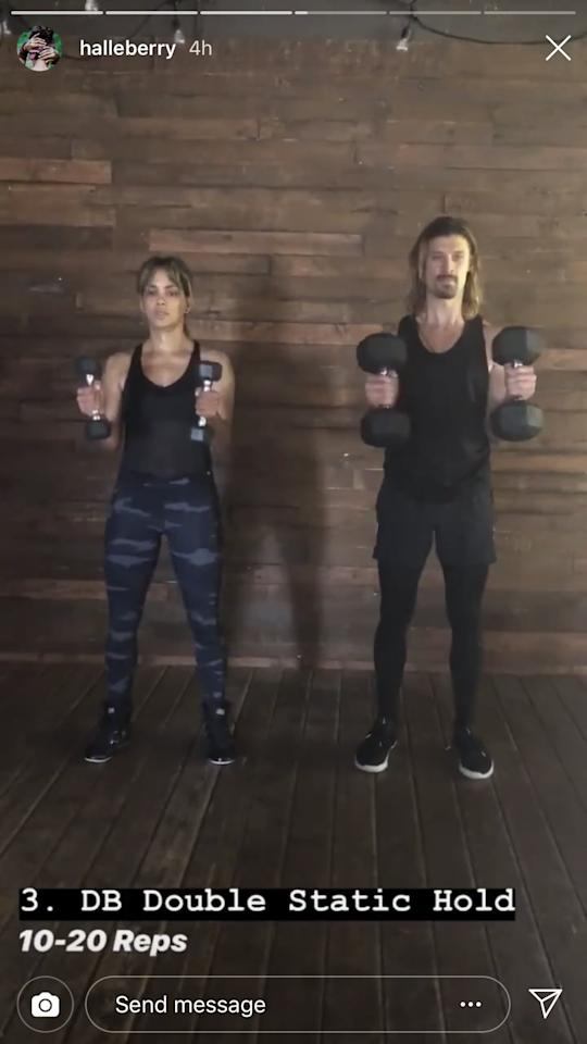 <p>Next up is the double dumbbell static hold. For this move, you'll begin with one dumbbell in each hand with your palms facing each other. Your elbows should be close to your ribs for the entire movement. Slowly begin to rotate both weights out to the side then return to the starting position. Complete 10 to 20 reps.</p>
