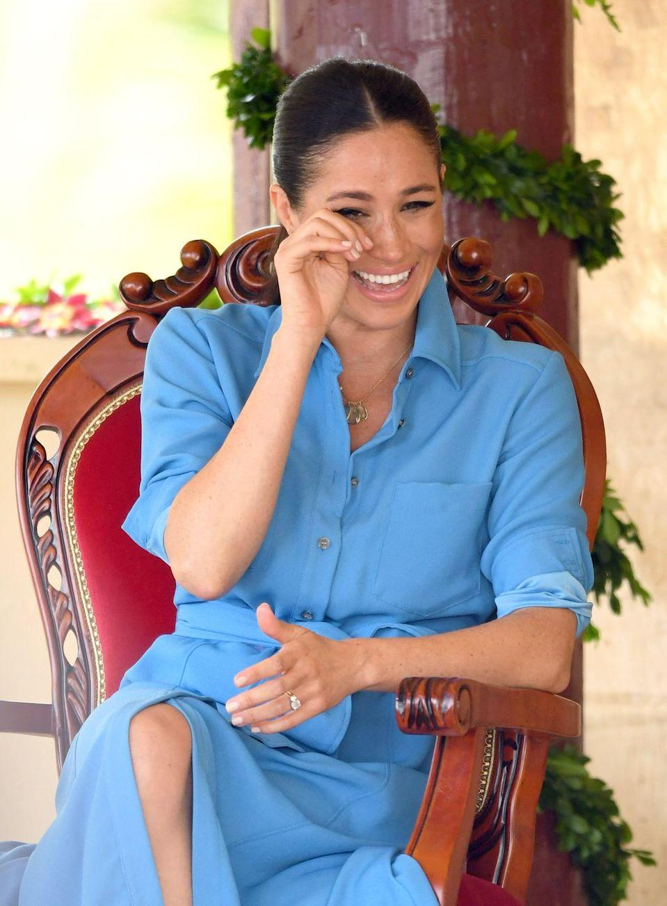 """<p>She literally wept with joy in Tonga while she watched a choir of schoolchildren <a href=""""https://www.harpersbazaar.com/celebrity/latest/a24267194/meghan-markle-prince-harry-laughing-crying-tonga-choir-performance/"""" rel=""""nofollow noopener"""" target=""""_blank"""" data-ylk=""""slk:sing a comedy-style anti-mosquito song"""" class=""""link rapid-noclick-resp"""">sing a comedy-style anti-mosquito song</a>, which tbh we'd quite like brought to the UK during the summer months.</p>"""