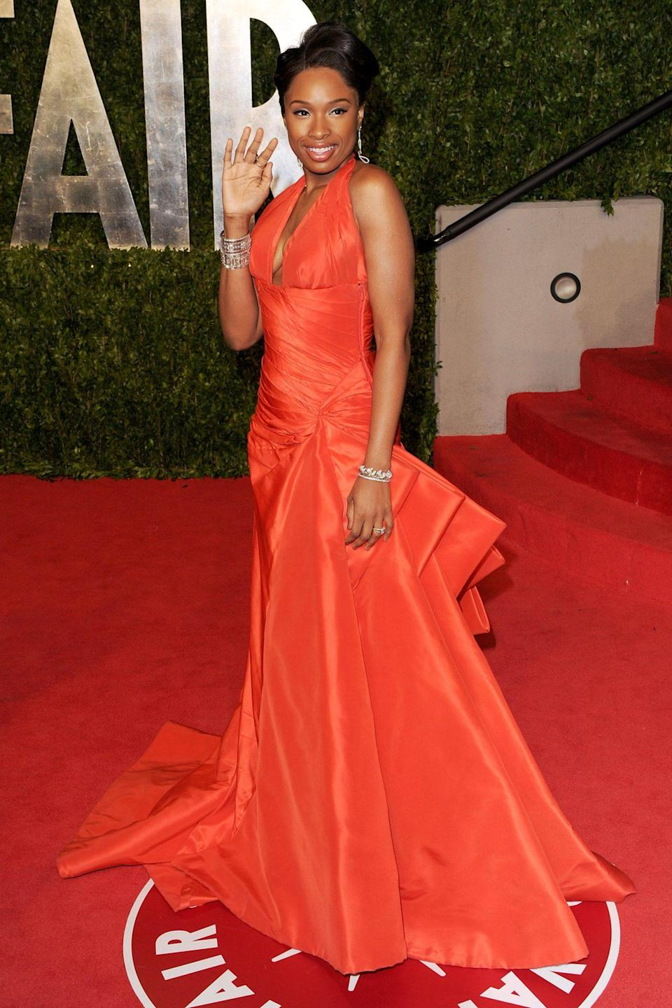 <p>In 2011, Jennifer Hudson looked stunning in a bright orange Atelier Versace halter number. The Academy Award winner was there as a presenter. </p>
