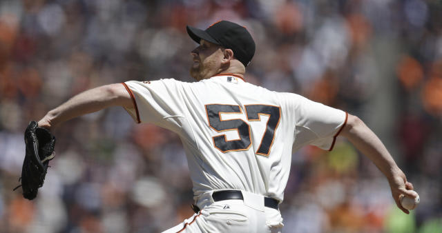 San Francisco Giants pitcher Chad Gaudin works against the Baltimore Orioles in the first inning of a baseball game Saturday, Aug. 10, 2013, in San Francisco. (AP Photo/Ben Margot)