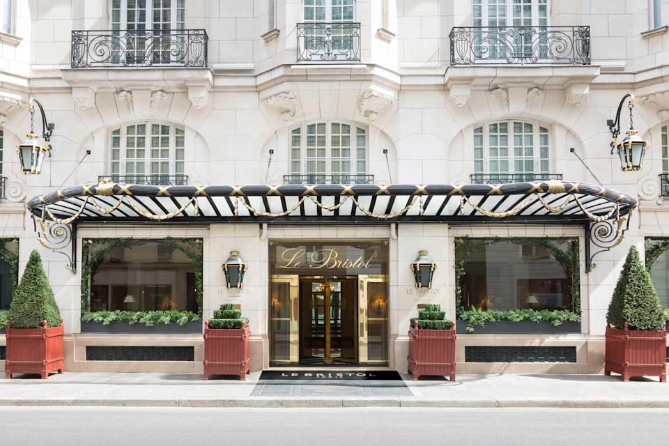 Exterior of Le Bristol luxury hotel in Paris, voted one of the best hotels in the world