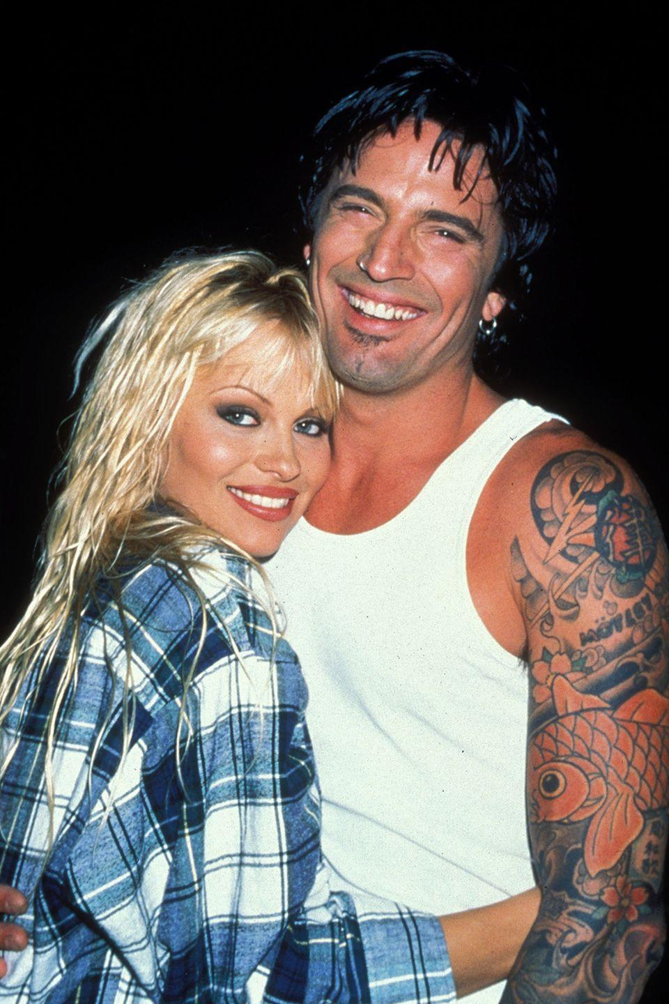 "<p>It's been more than two decades since this duo married in Cancun after FOUR DAYS (we'll repeat: four days) of knowing each other, per <a class=""link rapid-noclick-resp"" href=""https://www.billboard.com/articles/news/6479855/tommy-lee-pam-anderson-marriage-anniversary"" rel=""nofollow noopener"" target=""_blank"" data-ylk=""slk:Billboard""><em>Billboard</em></a>. They divorced in 1998.</p>"