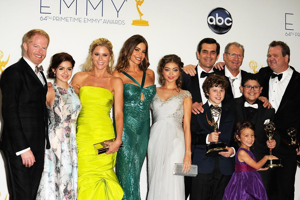 (L-R) Jesse Tyler Ferguson, Ariel Winter, Julie Bowen, Sofía Vergara, Sarah Hyland, Nolan Gould, Ty Burrell, Ed O'Neill, Rico Rodriguez, Aubrey Anderson-Emmons and Eric Stonestreet pose in the press room at the 64th Primetime Emmy Awards at the Nokia Theatre in Los Angeles on September 23, 2012.