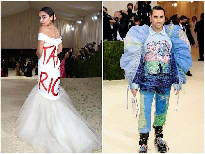 A composite image of Rep. Carolyn B. Maloney, Rep. Alexandrio Ocasio-Cortez, and Dan Levy at the Met Gala.