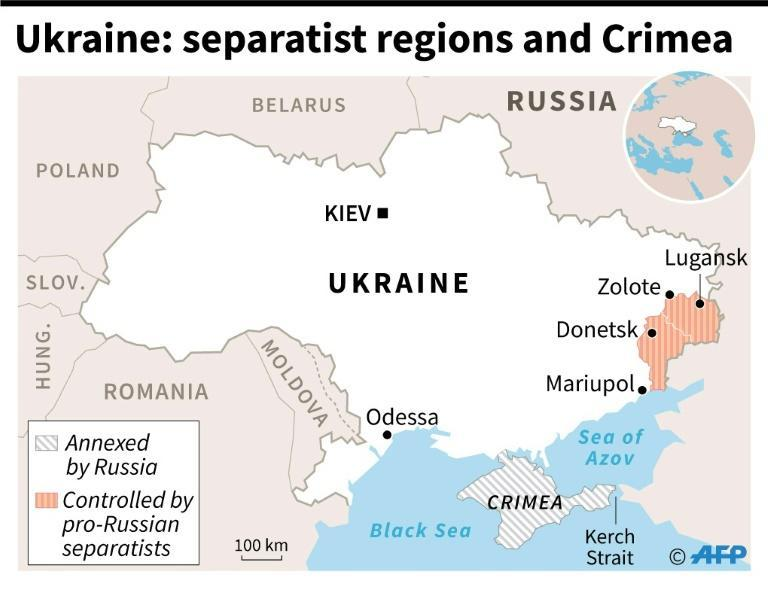Map of Ukraine showing regions controlled by pro-Russian separatists and Crimea which was annexed by Russia in 2014