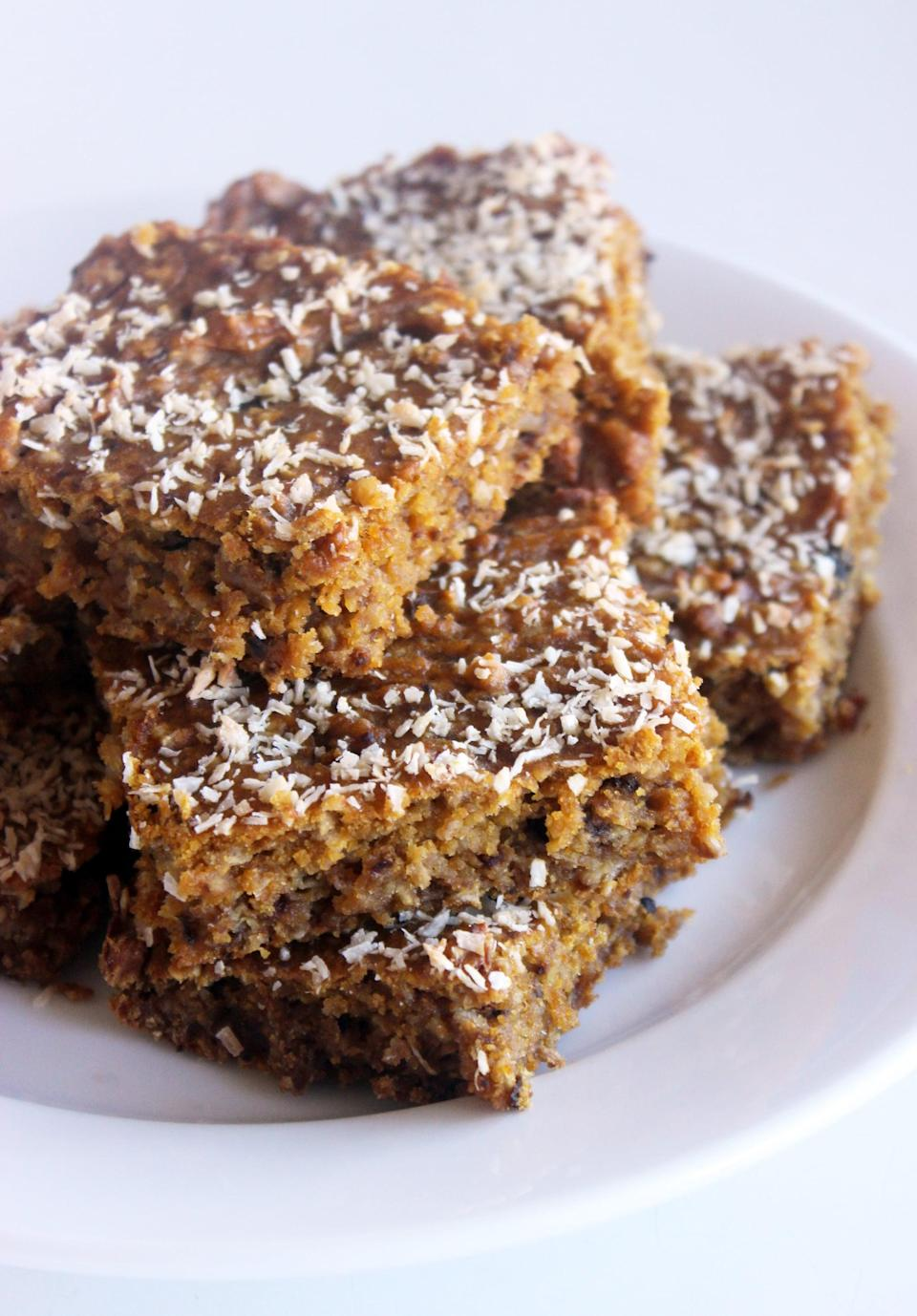 """<p>If supersweet desserts aren't your thing, look no further than these pumpkin oatmeal coconut bars. Made with whole wheat flour and sweetened with applesauce, they'll satisfy your craving for something cakey minus the sugar bomb.</p> <p><b>Get the recipe</b>: <a href=""""https://www.popsugar.com/fitness/Recipe-Pumpkin-Oatmeal-Coconut-Bars-2167337"""" class=""""link rapid-noclick-resp"""" rel=""""nofollow noopener"""" target=""""_blank"""" data-ylk=""""slk:pumpkin oatmeal coconut bars"""">pumpkin oatmeal coconut bars</a></p>"""