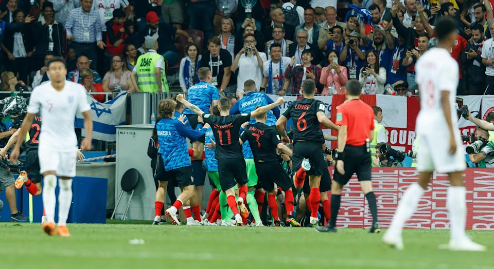 Mario Mandzukic of Croatia celebrates after scoring his team`s second goal with teammates during the 2018 FIFA World Cup Russia Semi Final match between Croatia and England. (Getty Images)