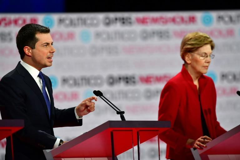Democratic presidential hopeful Pete Buttigieg, mayor of South Bend, Indiana, faced sustained attacks from rivals in the final debate of 2019, a sign he is seen as a threat to other candidates ahead of the first votes in the 2020 nomination race (AFP Photo/Frederic J. Brown)