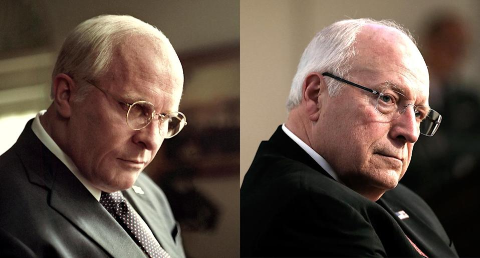 Christian Bale, left, and Dick Cheney