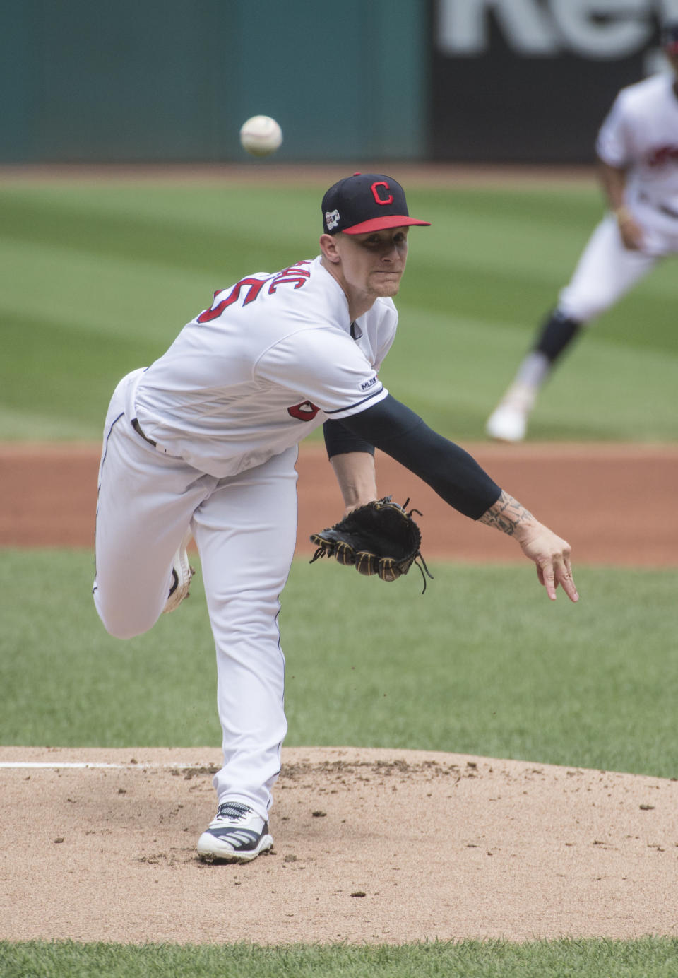 Cleveland Indians starting pitcher Zach Plesac delivers to Texas Rangers' Shin-Soo Choo during the first inning of the first game of a baseball doubleheader in Cleveland, Wednesday, Aug. 7, 2019. (AP Photo/Phil Long)