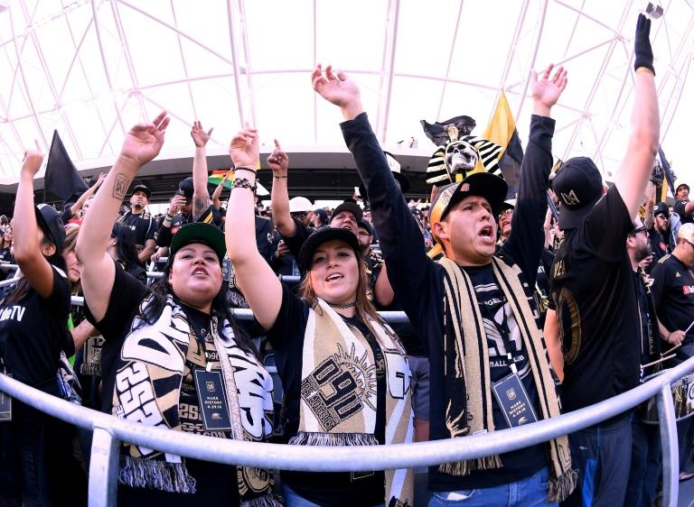 Fans cheer at the inaugural home match of MLS expansion team Los Angeles FC against the Seattle Sounders