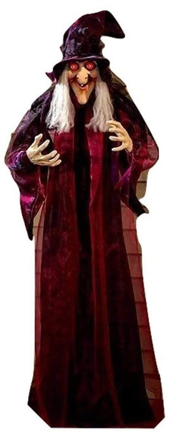 life size animated talking witch, scary Halloween decorations