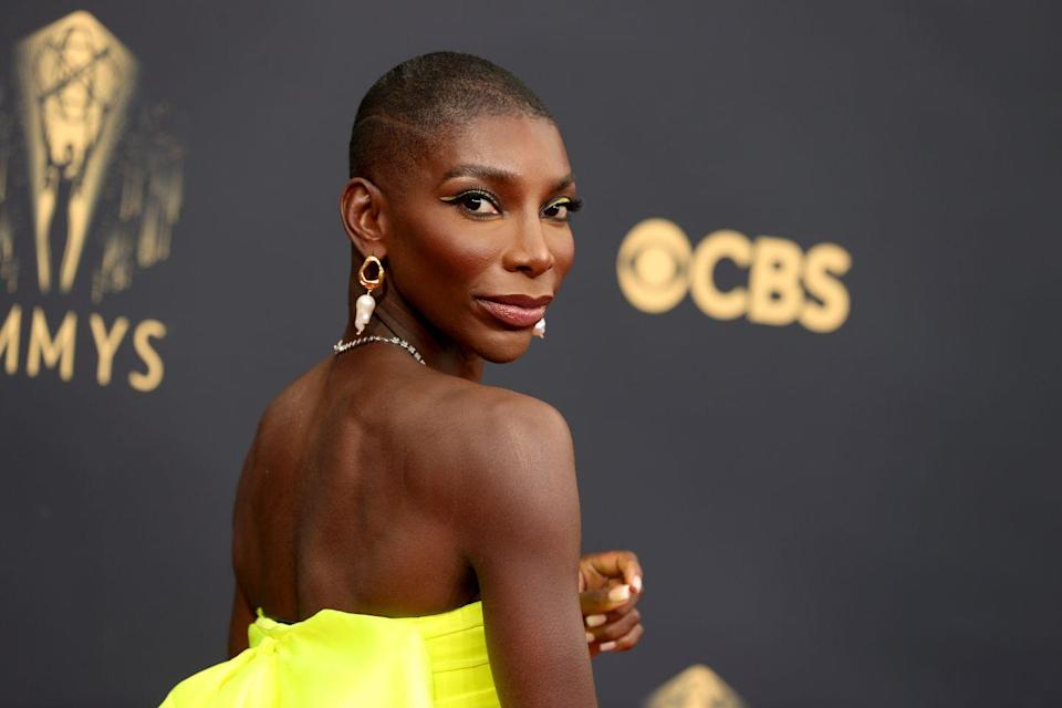 <p>All eyes were on Michaela Coel with her striking winged neon liner, framed with black flicks and dramatic lashes.</p>