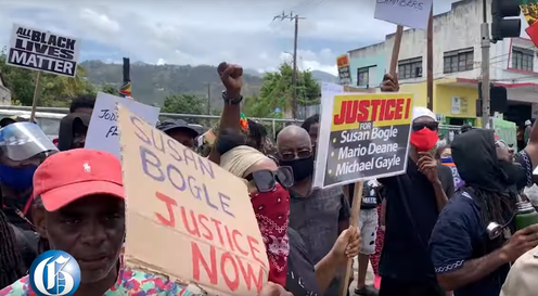 "<span class=""caption"">A Black Lives Matter protest in Kingston, Jamaica on June 6. </span> <span class=""attribution""><a class=""link rapid-noclick-resp"" href=""https://www.youtube.com/watch?v=NTVe3j6_SX0"" rel=""nofollow noopener"" target=""_blank"" data-ylk=""slk:Jamaica Gleaner via YouTube"">Jamaica Gleaner via YouTube</a></span>"