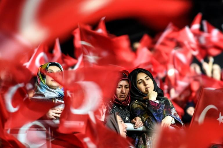 "Women rally in support of a ""yes"" vote in a referendum on boosting Erdogan's powers"